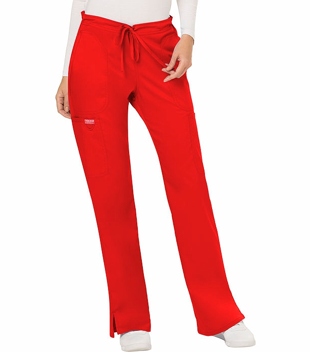 Cherokee Workwear Revolution Women's Drawstring Flare Scrub Pants-WW120 (Red - X-Large)