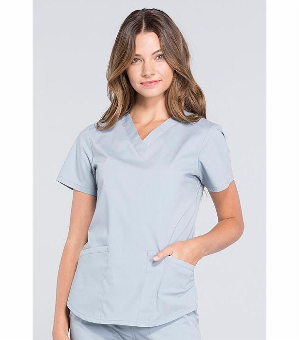 Cherokee Workwear Professionals Women's V-Neck Scrub Top-WW665 (Gray - XX-Large)
