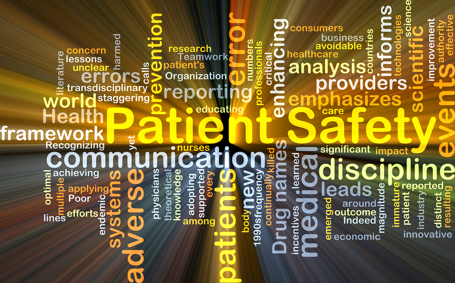 Background concept wordcloud illustration of patient safety glow