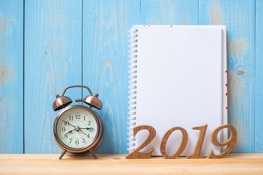 2019 Happy New Years With Notebook, Retro Alarm Clock And Wooden