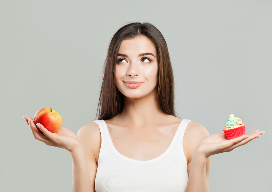 Overweight, Healthy Eating And Diet Concept. Woman With Healthy