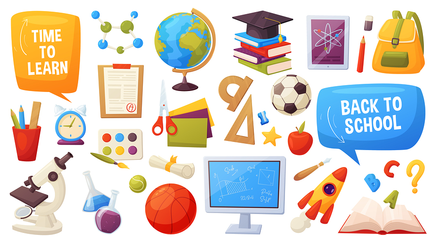 Set Of School Items. Cartoon Objects And Supplies Include: Books