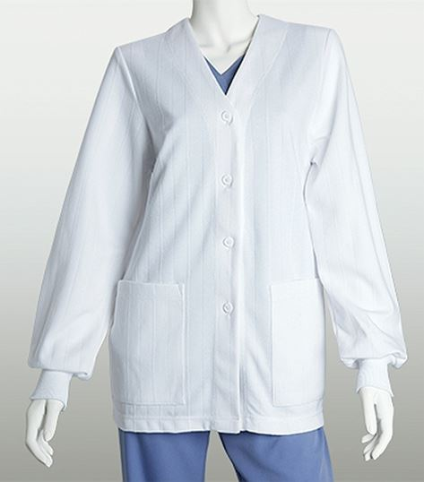 Lab Coats by Barco Knit Button Front Warm-up 1841