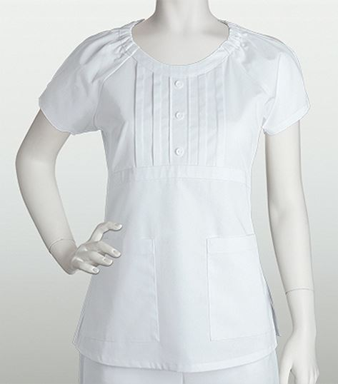 Prima by Barco Round Neck Mock Placket Top With Buttons 41303