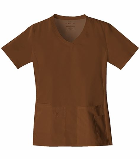 Cherokee Flexibles Women's V-Neck Stretch Panel Solid Scrub Top-1909