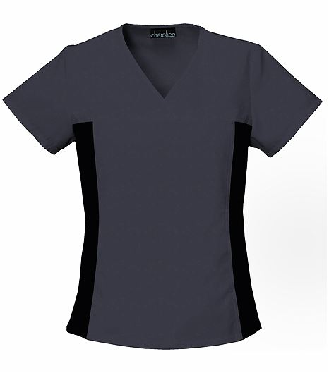 Cherokee Flexibles Women's V-Neck Stretch Side Panel Scrub Top-2874