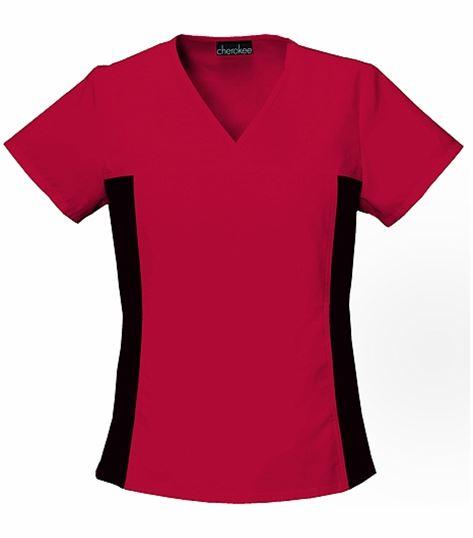 Cherokee Flexibles Women's V-Neck Stretch Side Panel Scrub Top-2874