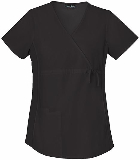Cherokee Flexibles Maternity Mock Wrap Solid Scrub Top-2892