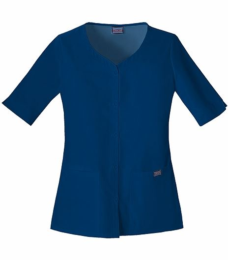Cherokee WorkWear Women's Button Front V-Neck Scrub Top-4730