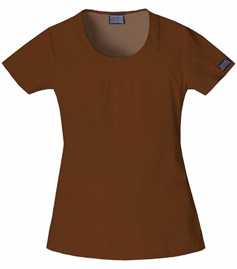 Cherokee WorkWear Women's Solid Top With Smocking-4761