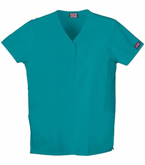 Cherokee WorkWear Snap Front V-neck Top 4770
