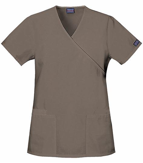 Cherokee WorkWear Women's Mock Wrap Solid Tunic Scrub Top-4801