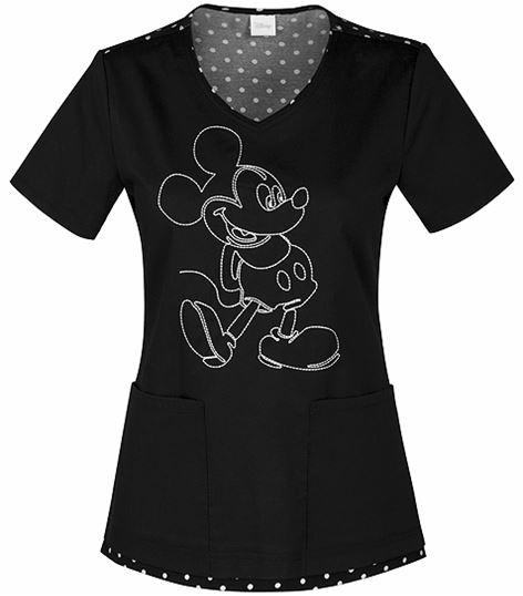 Cherokee Tooniforms Women's Mickey Mouse V-Neck Scrub Top-6623