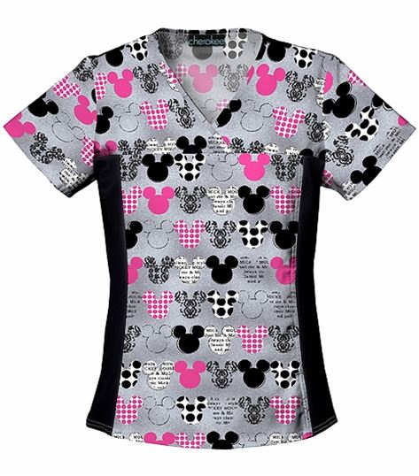 Cherokee Tooniforms Women's V-Neck Mickey Mouse Scrub Top-6875C