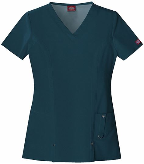 Dickies Xtreme Stretch Women's V-Neck Solid Scrub Top-82851