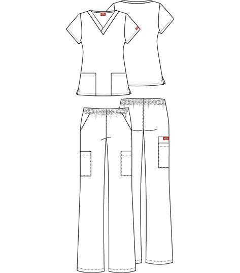 Dickies EDS Women's  V-neck Top & Cargo Pant Scrub Set-84520C