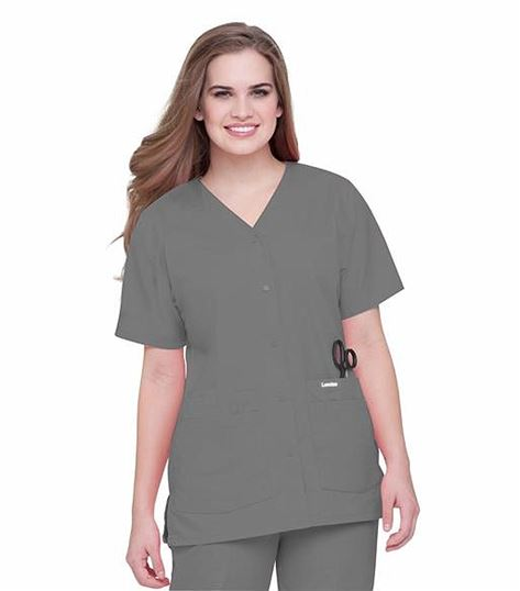 Landau Women's Snap Front Solid V-Neck Scrub Top-8232