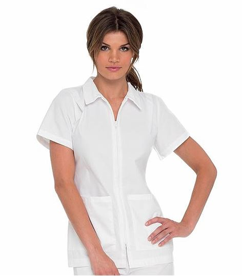 Landau Women's White Zip Up Tunic Scrub Top with Collar-8058