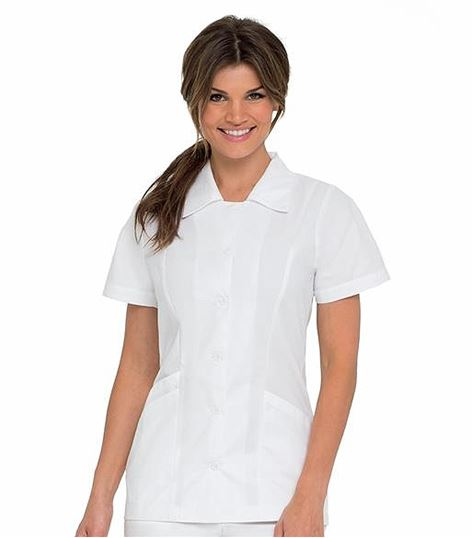 Landau Women's White Button Front Tunic Scrub Top With Collar-8051