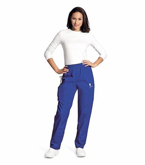 Landau Women's Elastic Waist Straight Leg Cargo Scrub Pants-8501