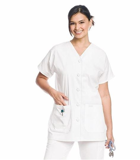 Landau Women's V-Neck Button Front Scrub Top-8265