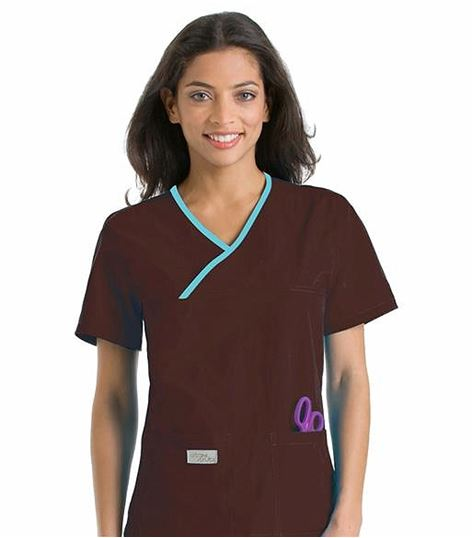 Urbane Essentials Women's Double Pocket Crossover Scrub Top-9534