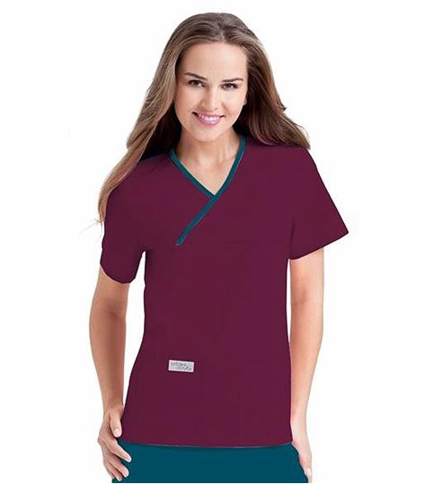 Urbane Women's Double Pocket Crossover Scrub Top-9534