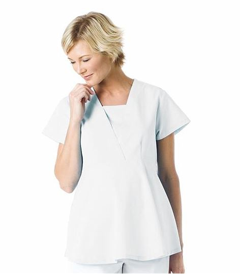 Landau Empire Waist Maternity Scrub Top-8001
