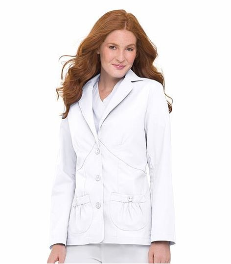 Landau Women's 3 Button Lab Jacket With Shirred Pockets-7733