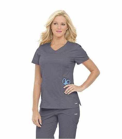 Landau Women's Smart Stretch Rounded V-Neck Scrub Top-4066