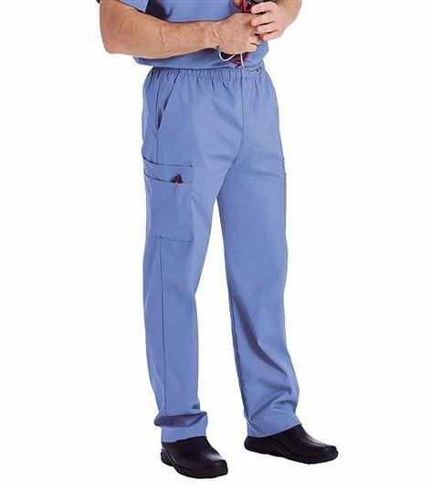 Landau Men's Elastic Waist Cargo Scrub Pants-8555