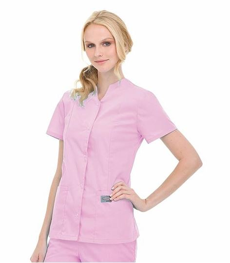 ScrubZone by Landau Women's Short Sleeve Snap Up Scrub Top-70223