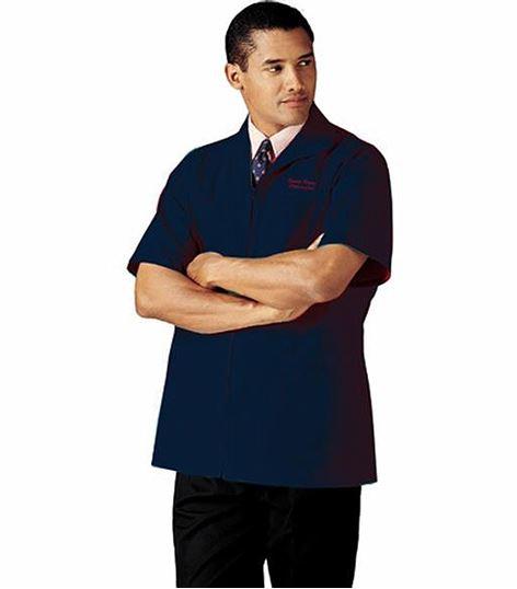 Landau Men's Short Sleeve Zip Up Warm-Up Scrub Jacket-1140