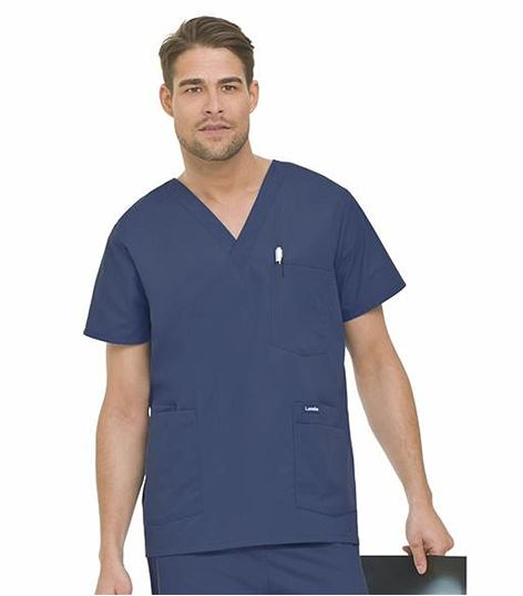 Landau Men's 5 Pocket Scrub Top-7489