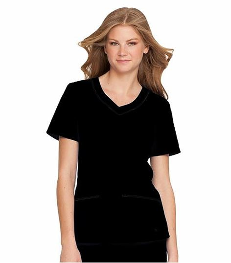 Landau Women's  Rounded Solid V-Neck Scrub Top Tunic-8109