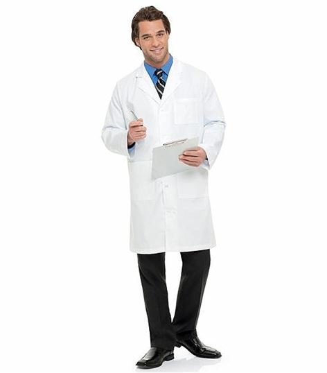 "Landau Men's 40"" Knee Length White Lab Coat-3139"