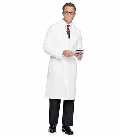 "Landau Men's Full Length 45"" Long White Lab Coat-3138"