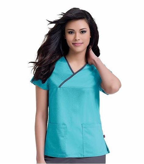 Urbane Women's Crossover Solid Scrub Top-9407