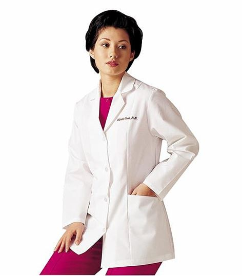 "Landau Women's 31""4 Button White Lab Coat-3194"