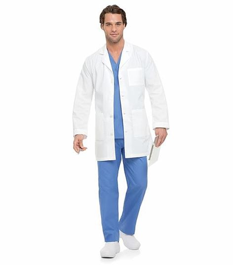 Landau Men's Button Front White Lab Coat-3166