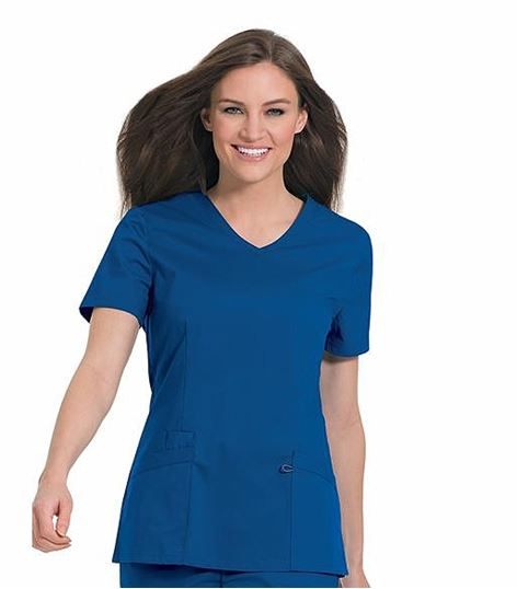 WorkFlow by Landau Women's Stretch V-Neck Tunic Scrub Top-4116