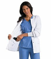 "Landau Women's 29"" White Snap Front Notebook Lab Coat-7635"