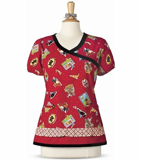6891625039f Mary Engelbreit Printed Y-neck Top With Solid Trim M3067 | Medical Scrubs  Collection