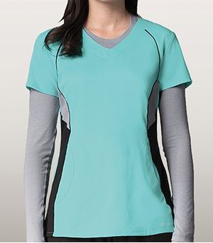 Grey's Anatomy Active 2 Pocket Color Block V-neck Top 41424