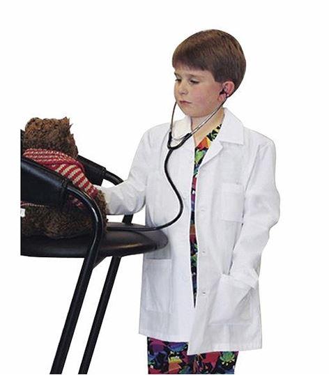Landau Kids White Lab Coat With 3 Pockets-7003