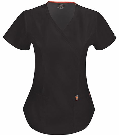 Code Happy Women's Mock Wrap Solid Scrub Top-46601A