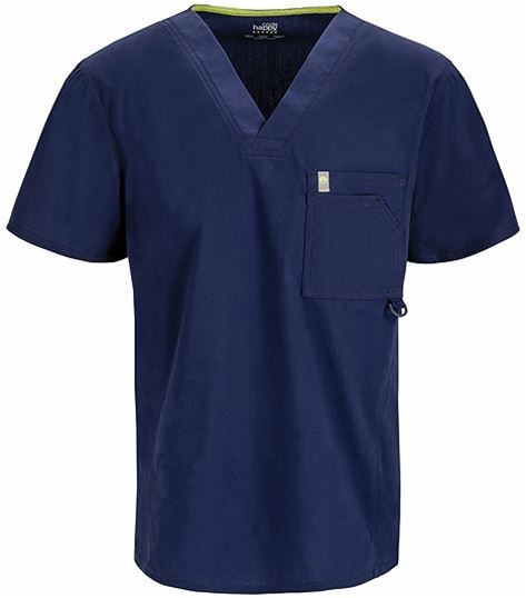 Code Happy Men's Antimicrobial V-Neck Solid Scrub Top-16600A