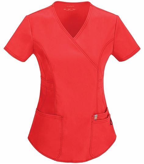 Code Happy Women's Mock Wrap Solid Scrub Top-46601A