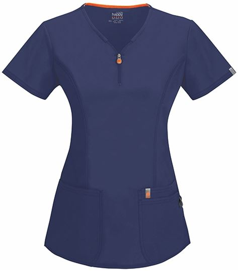 Code Happy Women's V-Neck Zip Front Solid Scrub Top-46600A