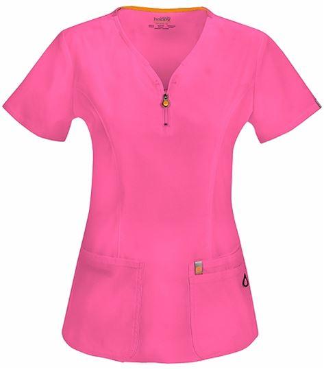 Code Happy Women's V-Neck Zip Front Solid Scrub Top-46600A